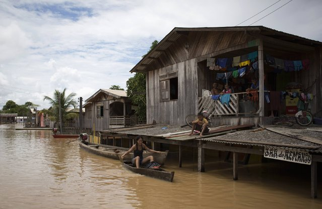 Residents are pictured in a neighbourhood flooded by the Purus river, which continues to rise from days of heavy rainfall in the region, in Boca do Acre, Amazonas state March 14, 2015. (Photo by Bruno Kelly/Reuters)