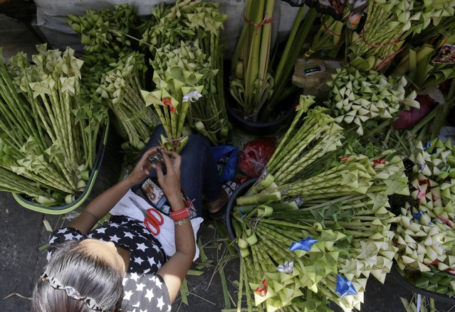 A resident crafts palm fronds to be blessed for Palm Sunday rites among Roman Catholics at suburban Paranaque city, south of Manila, Philippines Saturday, March 28, 2015. (Photo by Bullit Marquez/AP Photo)