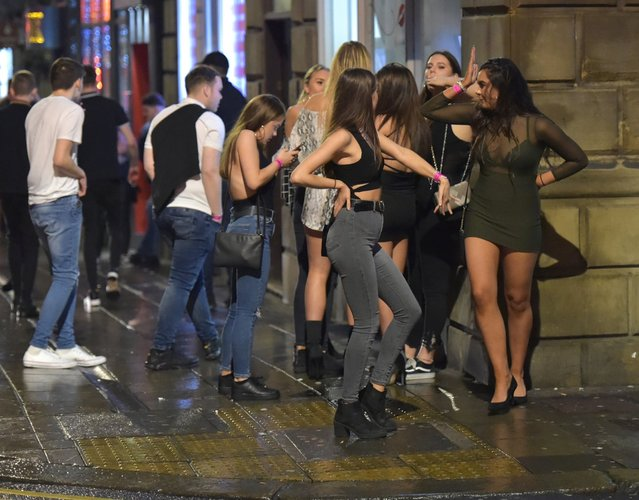 Party goers celebrate Boxing Day night in Newcastle, United Kingdom on December 26, 2018. (Photo by Blackburn/Backgrid)