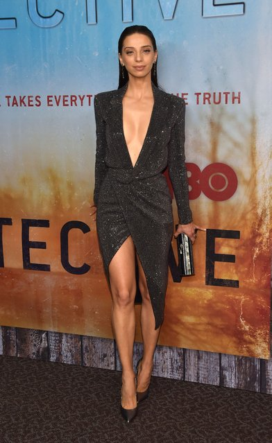 """American-Armenian actress Angela Sarafyan arrives for the Los Angeles Premiere of HBO's series """"True Detective"""" season 3 at the Directors Guild of America on January 10, 2019 in Los Angeles. (Photo by Chris Delmas/AFP Photo)"""