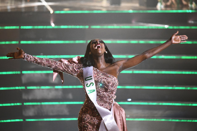 Contestant Jazell Barbie Royale of the US reacts after winning the Miss International Queen 2019 transgender beauty pageant in Pattaya on March 8, 2019. (Photo by Jewel Samad/AFP Photo)