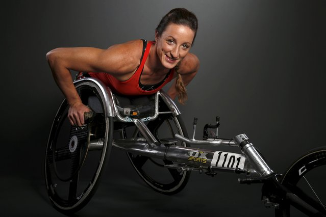Paralympic track & field competitor Tatyana McFadden poses for a portrait at the U.S. Olympic Committee Media Summit in Beverly Hills, Los Angeles, California March 7, 2016. Picture taken March 7, 2016. (Photo by Lucy Nicholson/Reuters)