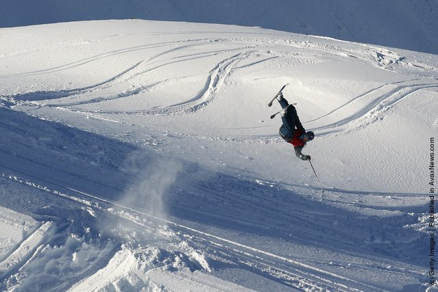 Freeskier Colin Hendrickson of Canada performs an air during the World Heli Challenge freestyle day in backcountry at Minaret Station on July 31, 2011 in Wanaka, New Zealand