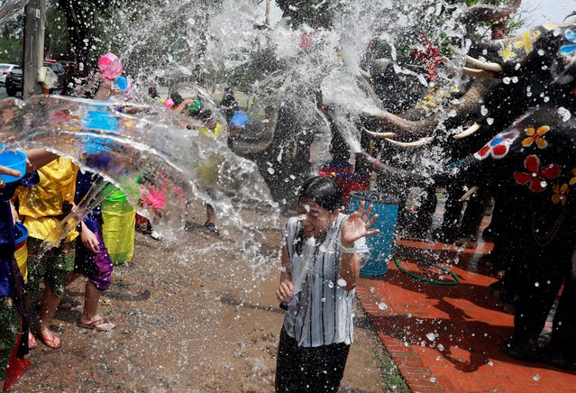 A reporter reacts while reporting as people and elephants play with water in the background as part of celebrations for Songkran in Ayutthaya, Thailand on April 11, 2019. The annual elephant Songkran event is held to promote the tourism industry. Songkran Festival is held also to mark the Thai traditional New Year falling annually on 13 April, and it is celebrated with people splashing water and putting powder on each other faces as a symbolic sign of cleansing and washing away the sins from the past year. (Photo by Soe Zeya Tun/Reuters)