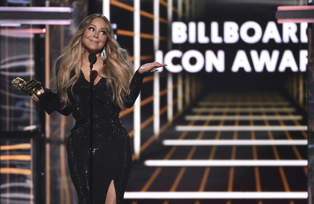 Mariah Carey accepts the Icon award at the Billboard Music Awards on Wednesday, May 1, 2019, at the MGM Grand Garden Arena in Las Vegas. (Photo by Chris Pizzello/Invision/AP Photo)