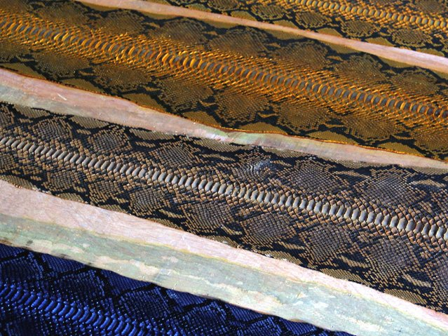 Snake skin which already passed the coloring process are ready to be sent to the factory. (Photo by Nurcholis Anhari Lubis/Getty Images)