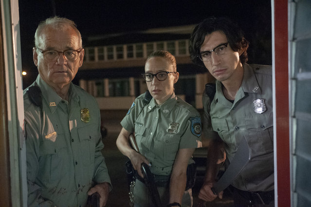 "This image released by Focus Features shows Bill Murray, from left, Chloë Sevigny and Adam Driver in a scene from ""The Dead Don't Die"". (Photo by Abbot Genser/Focus Features via AP Photo)"