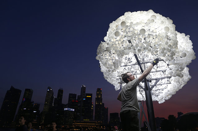 """Wayne Garrett of Canada makes final touches to his art installation """"Cloud"""", made up of 5000 new and recycled lightbulbs, along the Marina Bay in Singapore March 5, 2014. Garrett and compatriot Caitlind Brown are part of the 28 groups of local and international artists who are taking part in the i Light Marina Bay biennial sustainable light art festival which will run from Friday to March 30 along the Marina Bay. (Photo by Edgar Su/Reuters)"""
