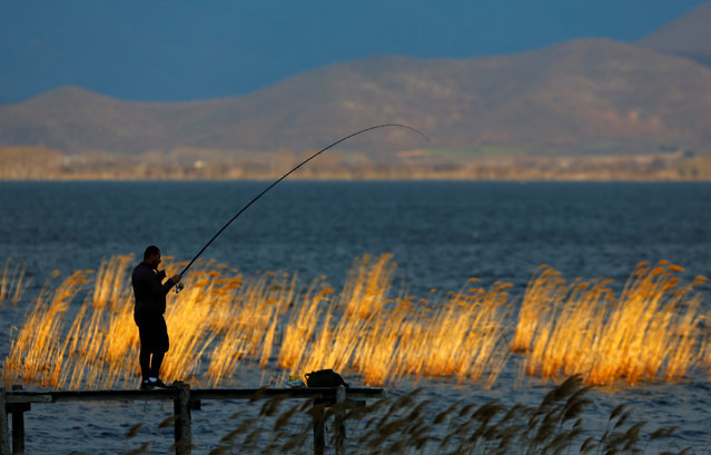 Fishermen fish on the dock at Dojran lake in Dojran, North Macedonia March 2, 2019. (Photo by Ognen Teofilovski/Reuters)