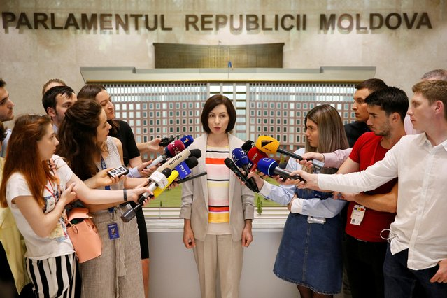 Maia Sandu, who was appointed as prime minister of Moldova, speaks to the media after the first meeting of the new cabinet, in Chisinau, Moldova on June 10, 2019. (Photo by Valentyn Ogirenko/Reuters)