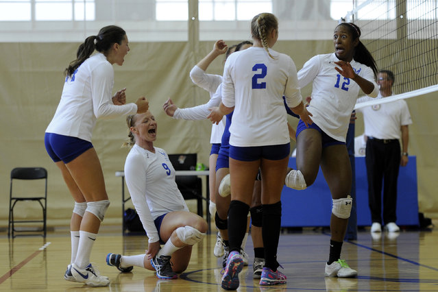 The Air Force Women's Volleyball Team celebrates after they score a point at the 2013 Armed Forces Volleyball Championship, Hill Air Force Base, Utah, May 08, 2013. Teams from different branches of the military to include the Air Force, Marines, Navy, and Army gathered to play for bragging rights as the Armed Forces Volleyball Champions. (Photo by Senior Airman Justyn M. Freeman)