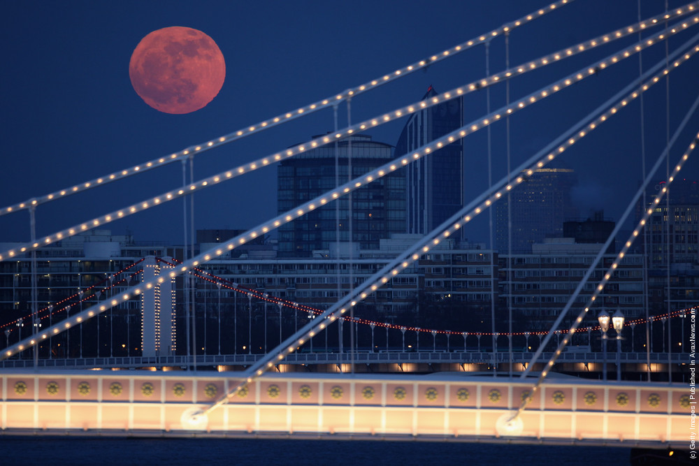 Full Moon Rises Over Albert Bridge In London