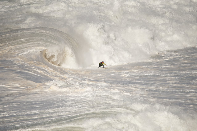 """""""North Canyon"""". A surfer ending a giant wave in Nazaré North Canyon. Photo location: Nazaré, Portugal. (Photo and caption by Rui Caria/National Geographic Photo Contest)"""