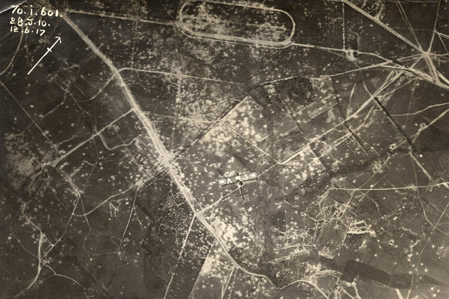 An aerial photograph shows an allied aircraft flying over the Western Front in this undated handout picture. This picture is part of a previously unpublished set of World War One (WWI) images from a private collection. The pictures offer an unusual view of varied and contrasting aspects of the conflict, from high tech artillery to mobile pigeon lofts, and from officers partying in their headquarters to the grim reality of life and death in the trenches. The year 2014 marks the centenary of the start of the war. (Photo by Reuters/Archive of Modern Conflict London)