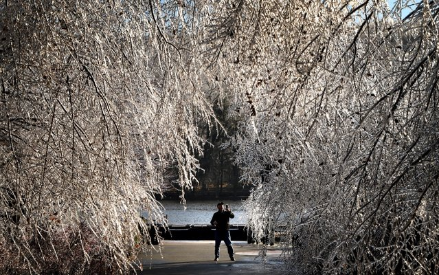 A man takes a photo of frozen trees as a winter storm brings havoc to New Jersey as ice caused power outages and downed trees throughout the area on December 18, 2019 in West Orange, New Jersey. A handful of people braved the cold to take pictures and enjoy the scene at The Waterfront at South Mountain Recreation Complex. (Photo by Rick Loomis/Getty Images)
