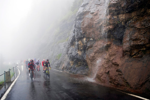 Riders in action during the 6th stage of the 80th Tour de Suisse UCI ProTour cycling race over 162.8km from Weesen to Amden, near the Klausen pass, Switzerland, 16 June 2016. (Photo by Gian Ehrenzeller/EPA)