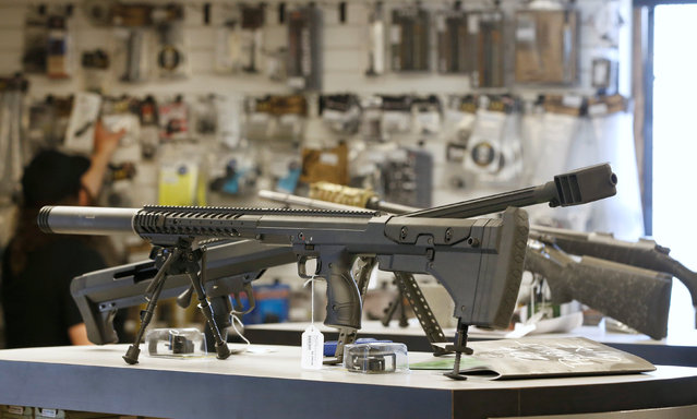 "Sniper rifles sit on display for sale at the ""Ready Gunner"" gun store in Provo, Utah, U.S., June 21, 2016. (Photo by George Frey/Reuters)"