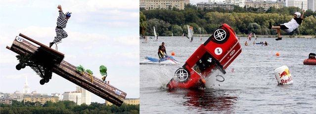 Competitors plunge into the water during the Red Bull Flugtag event in Moscow. (Photo by AFP/Reuters)