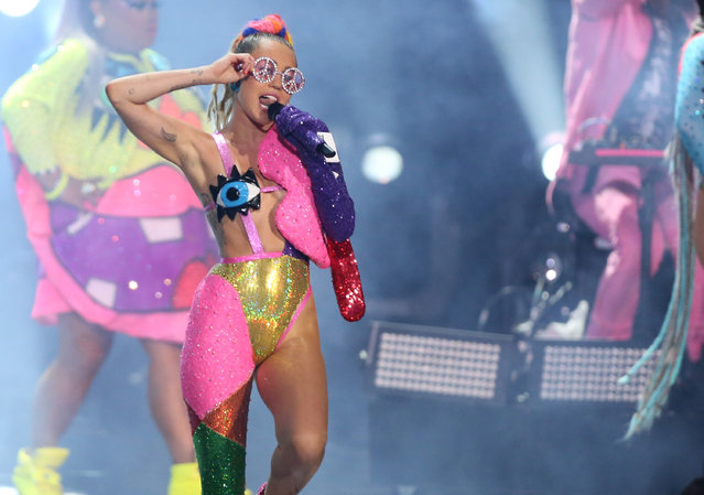 Miley Cyrus performs at the MTV Video Music Awards at the Microsoft Theater on Sunday, August 30, 2015, in Los Angeles. (Photo by Matt Sayles/Invision/AP Photo)