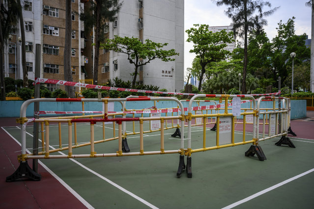A playground in Hong Kong, China, on April 14, 2020 closed due to Coronavirus. The playground remains closed until further notice. (Photo by NurPhoto via Getty Images)