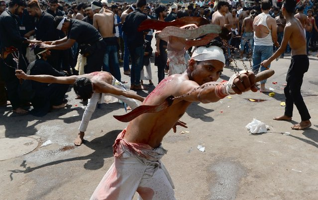 Indian Shiite Muslim perform a ritual of self-flagellation as they take part in a religious procession during the Ashura mourning period in New Delhi on October 1, 2017. The religious commemoration of Ashura, which includes a ten-day mourning period starting on the first day of Muharram on the Islamic calendar, commemorates the seventh-century slaying of Prophet Mohammed's grandson Imam Hussein in Karbala. (Photo by Sajjad Hussain/AFP Photo)