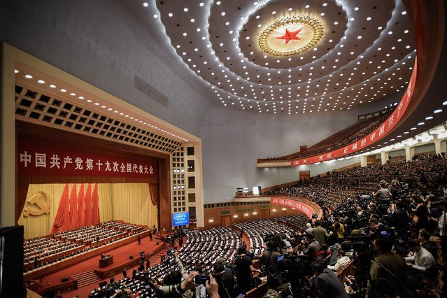 A general view of the Great Hall of the People as Chinese President Xi Jinping delivers a speech during the opening session of the 19th Communist Party Congress on October 18, 2017 in Beijing, China. The 19th Communist Party Congress will convene from October 18-24. (Photo by Etienne Oliveau/Getty Images)