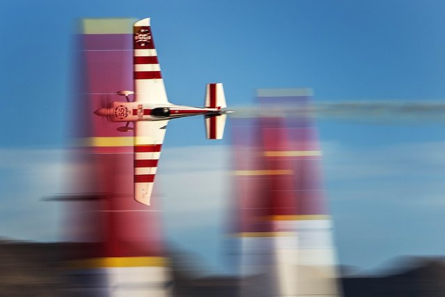 Paul Bonhomme of Great Britain performs during the qualifying for the seventh stage of the Red Bull Air Race World Championship at the Las Vegas Motor Speedway in Las Vegas, Nevada, United States on October 11, 2014. (Photo byJoerg Mitter/Red Bull via Getty Images)