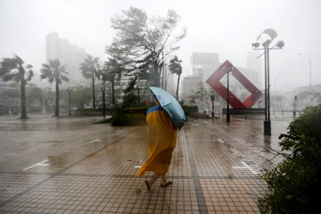 A Taiwanese braves through high winds and rain from Super Typhoon Meranti in Kaohsiung, southern Taiwan, 14 September 2016. (Photo by Ritchie B. Tongo/EPA)