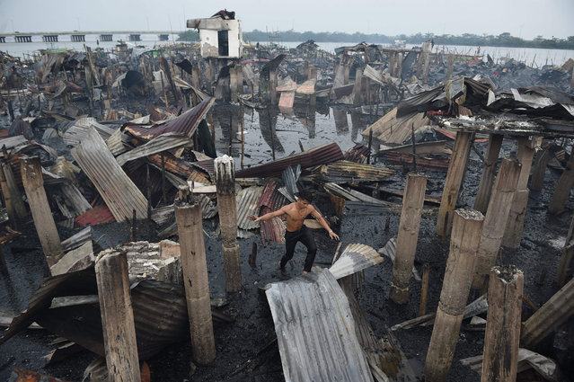A resident walks on a galvanized roof sheet and destroyed homes after a fire hit at an informal settlers area along the coast in Bacoor town, Cavite province, southwest of Manila on January 24, 2018. Around 200 houses were destroyed affecting a thousand residents, no death or injury were reported. (Photo by Ted Aljibe/AFP Photo)