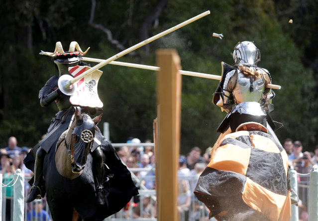 New Zealand jouster Simon Tennant (L) makes contact with his lance on  Australia's Luke Banks during a jousting tournament at the St Ives Medieval Fair in Sydney, one of the largest of its kind in Australia, September 24, 2016. (Photo by Jason Reed/Reuters)