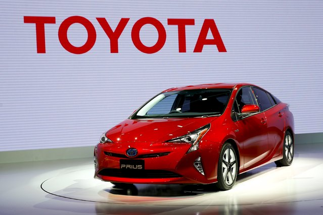 Toyota Motor Corp's new Prius hybrid car is on display at the 44th Tokyo Motor Show in Tokyo, Japan, October 28, 2015. (Photo by Thomas Peter/Reuters)