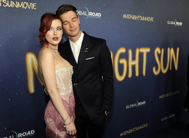 """Bella Thorne, left, and Patrick Schwarzenegger, cast members in """"Midnight Sun"""", pose together at the premiere of the film at the ArcLight Hollywood on Thursday, March 15, 2018, in Los Angeles. (Photo by Chris Pizzello/Invision/AP Photo)"""