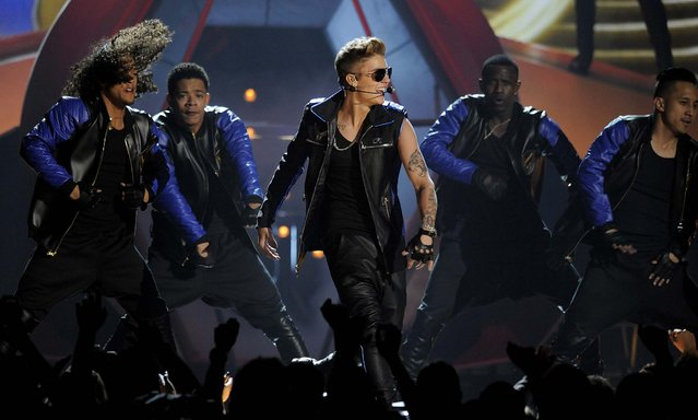 Justin Bieber performs during the show. (Photo by Chris Pizzello/Invision)