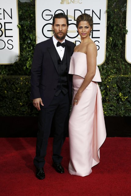 Actor Matthew McConaughy and Camila Alves arrive at the 72nd Golden Globe Awards in Beverly Hills, California January 11, 2015. (Photo by Mario Anzuoni/Reuters)