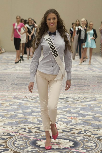 Miss Lithuania 2014 Patricija Belousova rehearses during the 63rd annual Miss Universe Pageant in Miami, Florida in this January 15, 2015 handout photo. (Photo by Reuters/Miss Universe Organization)
