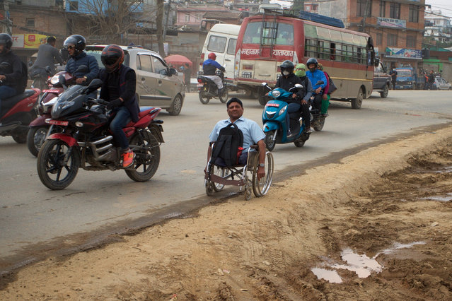 """""""There's too much dust. When I spit, it comes out black. There is no disabled access anywhere. Our leaders talk about disabled access, but there is no access even in Singha Durbar (a complex of government ministries)"""", says Govinda Khanal, a former teacher. (Photo by Pete Pattisson/The Guardian)"""