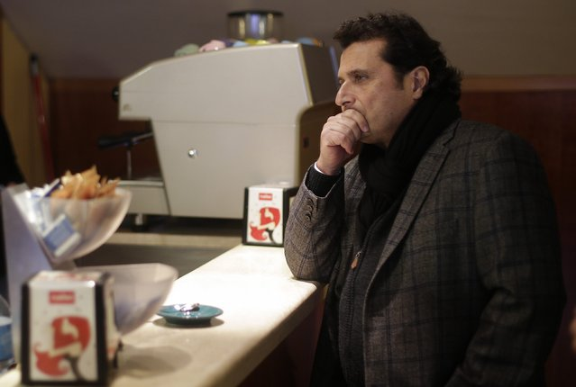 Captain of the Costa Concordia cruise liner Francesco Schettino stands at a counter during a break in his trial in Grosseto February 9, 2015. (Photo by Max Rossi/Reuters)