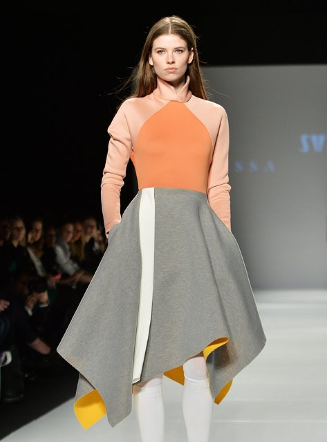 A model walks the runway for the Melissa Nepton collection during Toronto fashion week in Toronto on Tuesday, March 24, 2015. (Photo by Nathan Denette/AP Photo/The Canadian Press)