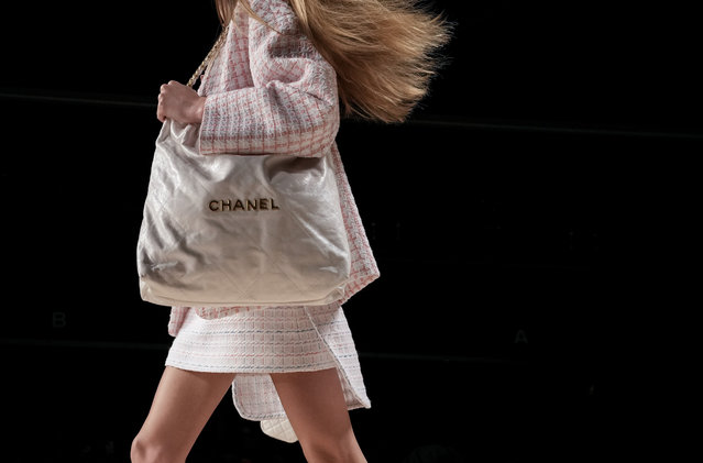 A model wears a creation for the Chanel Spring-Summer 2022 ready-to-wear fashion show presented Tuesday, October 5, 2021, in Paris. (Photo by Francois Mori/AP Photo)