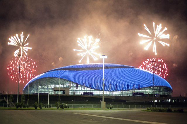 Fireworks are shot over the Bolshoy Ice Dome at the conclusion of a rehearsal for the opening ceremony at the 2014 Winter Olympics, Saturday, February 1, 2014, in Sochi, Russia. (Photo by David Goldman/AP Photo)