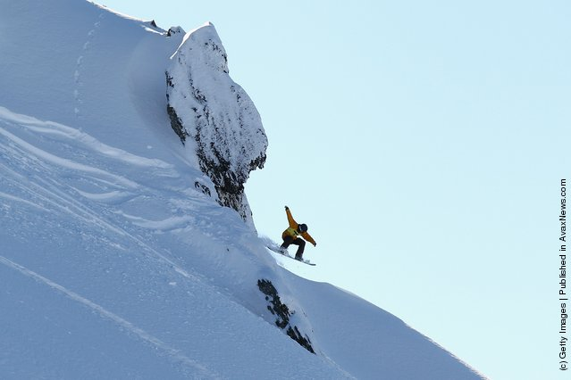 Freerider Shin Biyama of Japan launches off a drop during the World Heli Challenge freestyle day in backcountry at Minaret Station on July 31, 2011 in Wanaka, New Zealand