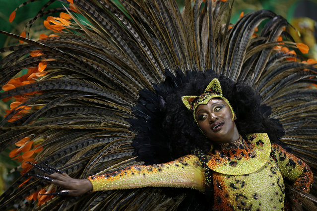 A reveller parades for the Vila Maria samba school during the carnival in Sao Paulo, Brazil, February 25, 2017. (Photo by Paulo Whitaker/Reuters)