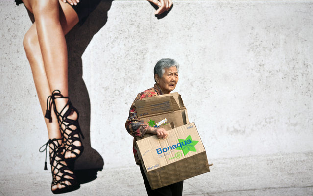 An elderly woman carries boxes for recycling as she walks past a billboard advertisement in Hong Kong on March 17, 2014. One in three people in the city is expected to be 65 years old or above by 2041, threatening to curb economic growth in the major financial hub, the Hong Kong government has warned. (Photo by Anthony Wallace/AFP Photo)