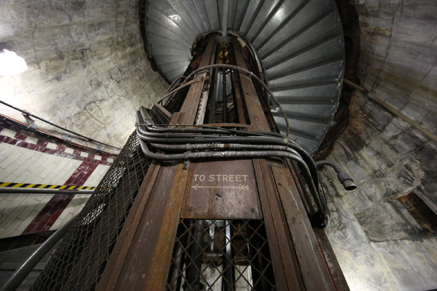 A sign points the way to the street in the disused Down Street underground station on May 18, 2015 in London, England. The disused underground railway station, which closed in 1932, was used by wartime leader Winston Churchill for some cabinet meetings in 1932 as his Whitehall bunker was being built. (Photo by Peter Macdiarmid/Getty Images)