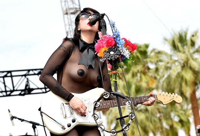 Dee Dee of Dum Dum Girls performs onstage during day 1 of the 2014 Coachella Valley Music & Arts Festival at the Empire Polo Club on April 18, 2014 in Indio, California (Photo by Kevin Winter/Getty Images for Coachella)