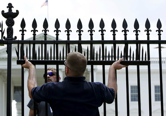 U.S. government contractors begin the initial installation of security spikes on the existing White House perimeter fence in Washington, United States, July 1, 2015. (Photo by Gary Cameron/Reuters)