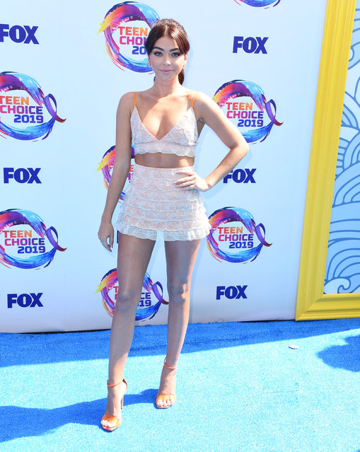 Sarah Hyland arrives at the FOX's Teen Choice Awards 2019 on August 11, 2019 in Hermosa Beach, California. (Photo by Steve Granitz/WireImage)