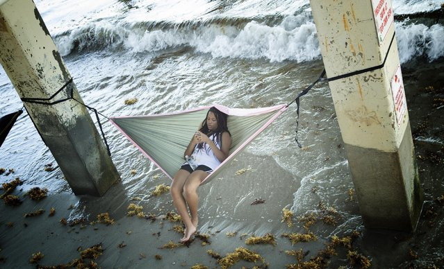 A young girl sits on a hammock under a pier as she plays with her phone at Dania Beach, Fla., Friday, July 3, 2015. (Photo by J. Pat Carter/AP Photo)