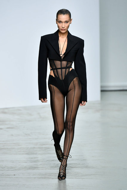 Bella Hadid walks the runway during the Mugler Ready to Wear Spring/Summer 2020 fashion show as part of Paris Fashion Week on September 25, 2019 in Paris, France. (Photo by Dominique Maitre/WWD/Rex Features/Shutterstock)