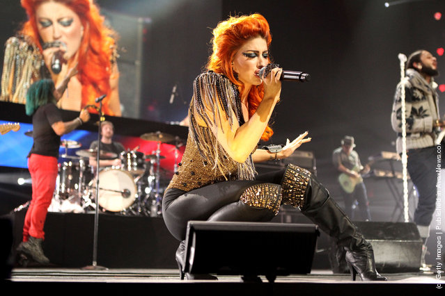 Singer Neon Hitch performs onstage during VH1's Super Bowl Fan Jam at Indiana State Fairgrounds, Pepsi Coliseum